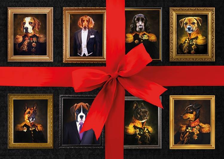 Hund in kleidung, Hund in Anzug, Hund in Uniform, Geschenk, Geschenkgutschein, Bild , Gemälde