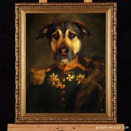 hundeportrait Hund in Uniform Hund in Kleidung Gemaelde, Tiere in Kleidung