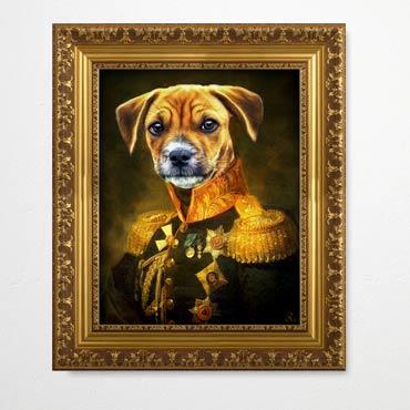 Gemälde Hund im Anzug, Gemälde Hund in Kleidung, Bild Barockrahmen, Gemälde Stil, Barock Bild Hund
