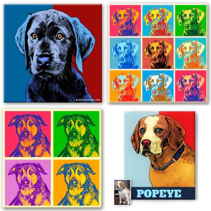 Pop Art Portraits Bilder für die Wand GeschenkideeHundebesitzer