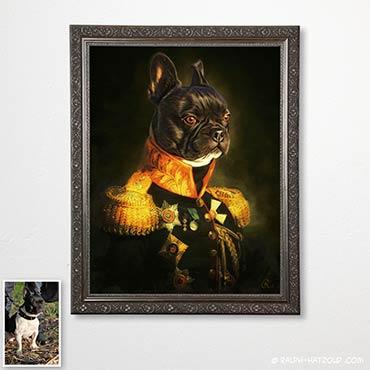Gemälde französische bulldogge in kleidung