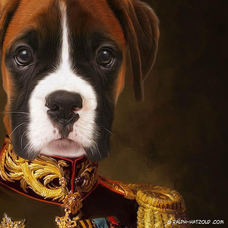 Hund Boxer in Kleidung, Boxer im Anzug, Gemälde Stil Hund Boxer in Uniform, Barock Rahmen