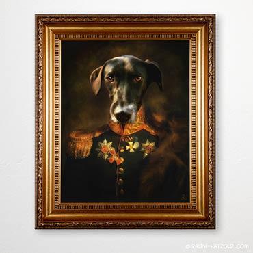 Hund in Uniform, Gemälde Stil, Barockrahmen