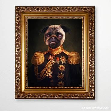 Mops in Kleidung, Hund Mops im Anzug, Schicker Mops, Mops Bilder, Gemälde Hund im Anzug