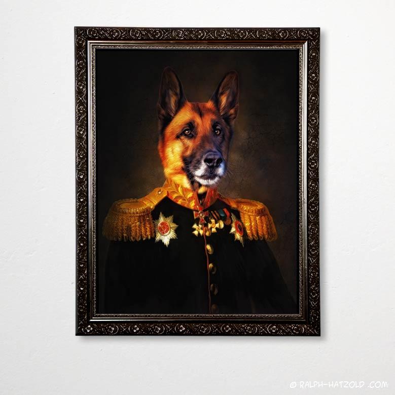 Deutscher Schäferhund in Uniform Gemälde Stil in Brarockrahmen