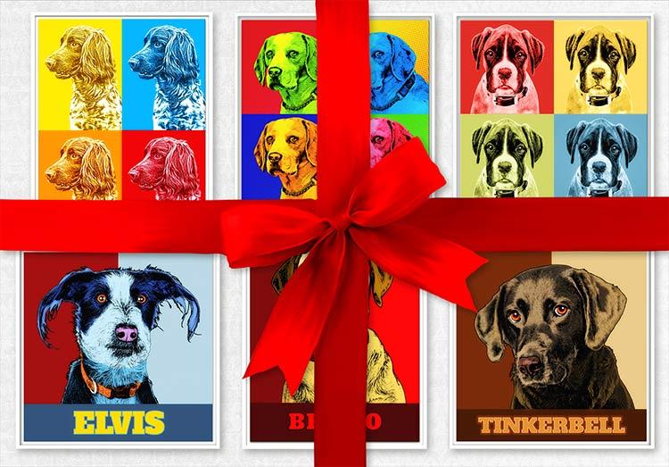Hunde Pop Art Lichtenstein oder Warhol Stil, Geschenk auf Leinwand