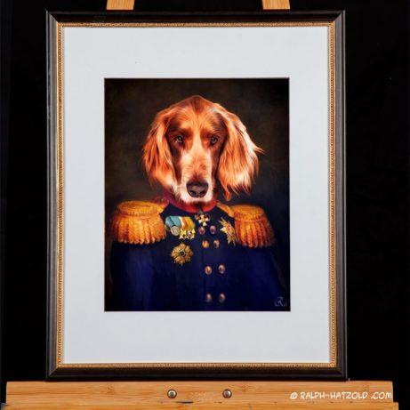 Hundeportrait Irish Setter in Uniform, Hund in Kleidung, Geschenk Gemaelde Stil