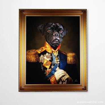 Puggle in Uniform, Hund im Anzug, Gemälde Stil