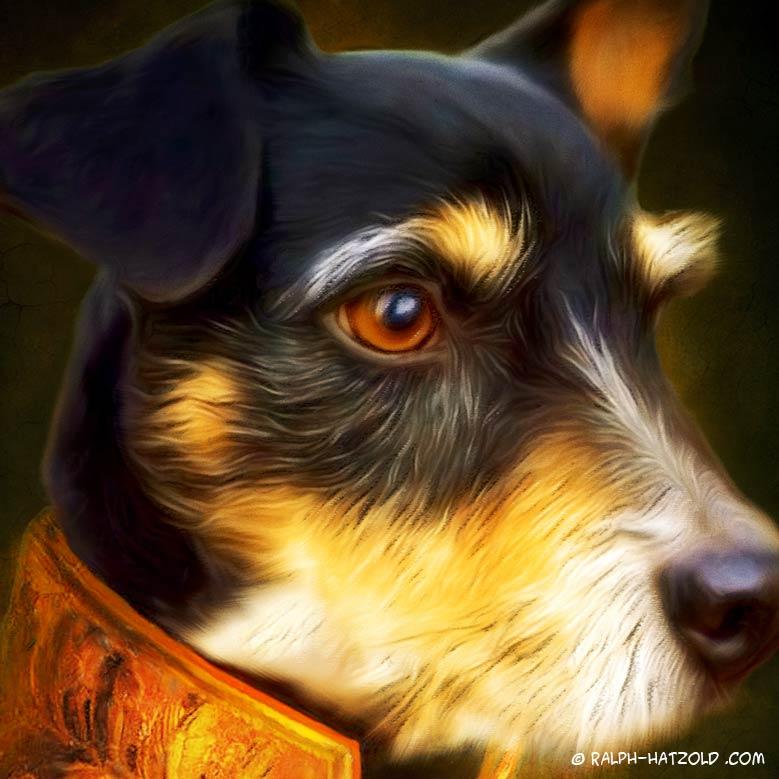 Terrier Merlin in Uniform, Gemälde Stil