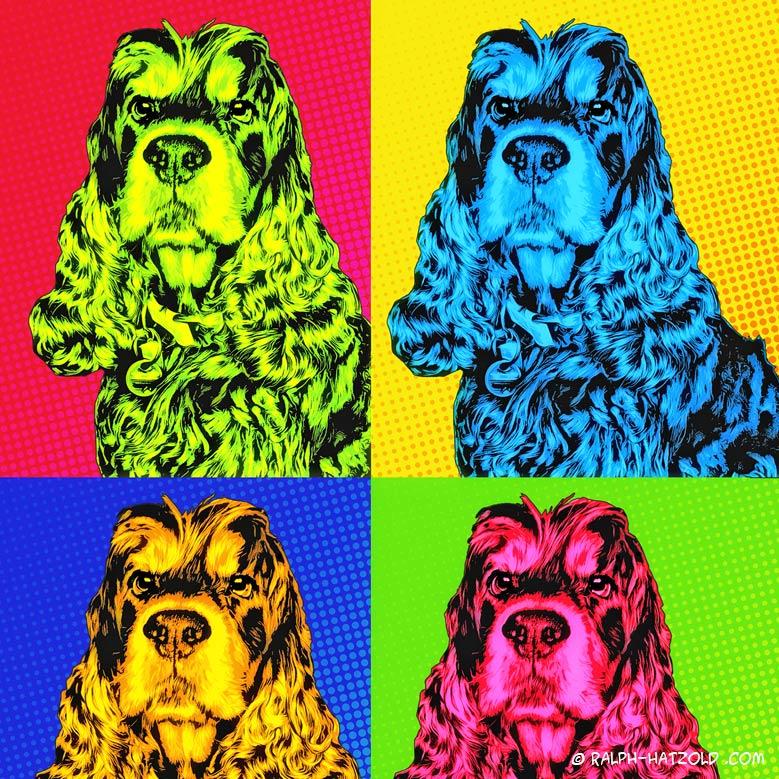Andy Warhol Bild vom eigenen Hund, Hund Enzo Cocker Spaniel Kunst vom eigenen Haustier