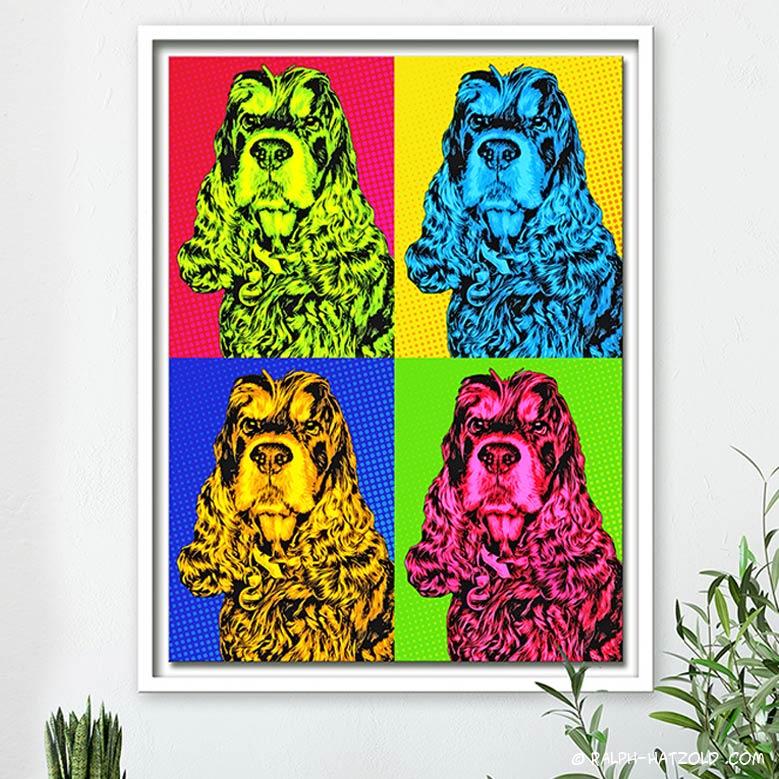 Pop Art Geschenke für Hundebesitzer, Andy Warhol Stil, Gemälde vom eigenen Foto, Hund Enzo Cocker Spaniel Kunst vom eigenen Haustier