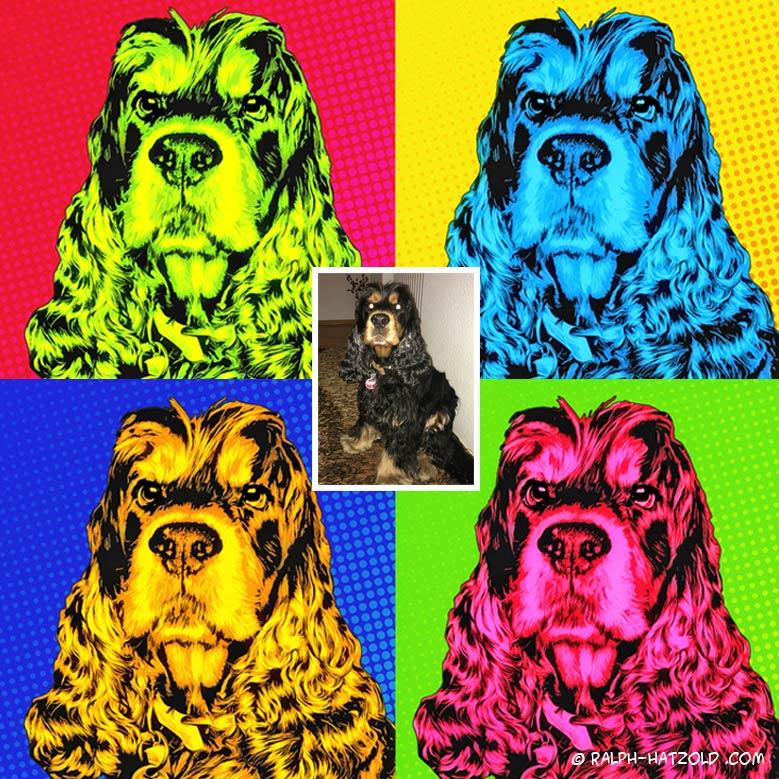 Pop Art Andy Warhol Stil vom eigenen Foto, Hund George Cocker Spaniel Kunst vom eigenen Haustier