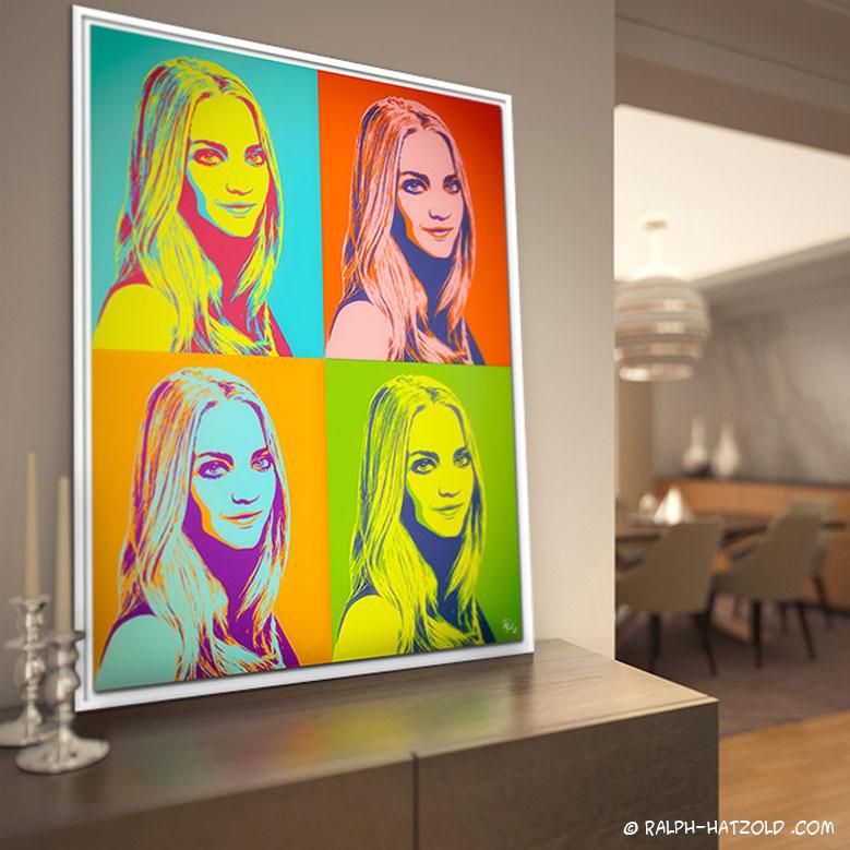 Pop Art Portrait Andy Warhol Stil, bunte Bilder, Pop Art Fotogeschenke, individuelle Geschenkidee