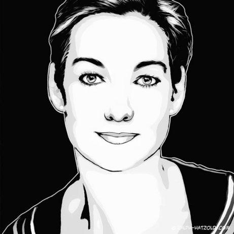 Foto Pop Art Portrait black and white, schwarz weiss, Pop Art vom eigenen Foto, Pop Art Portrait auf Leinwand