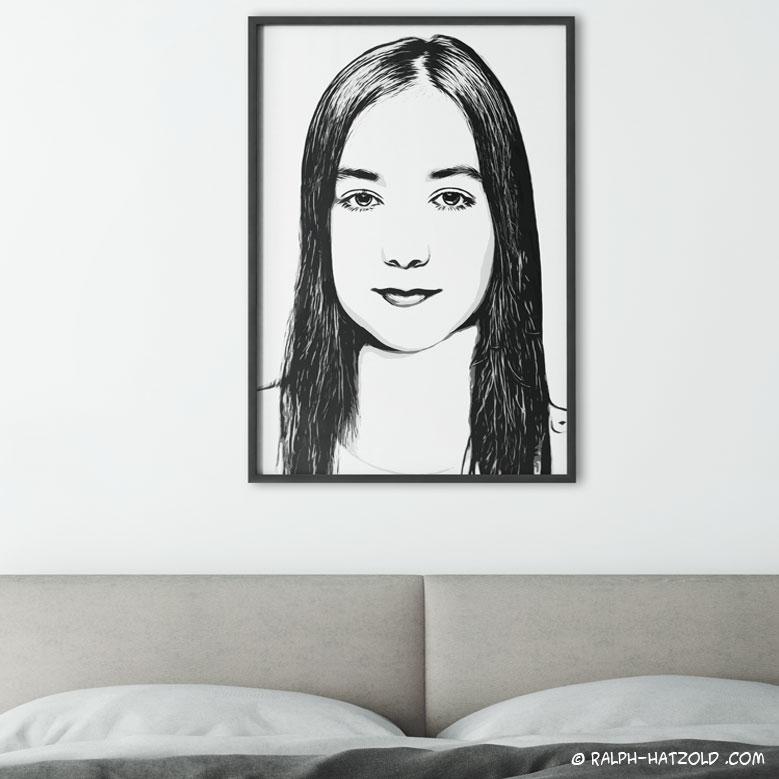 SW, Schwarz weiss, black white, Foto Pop Art Portrait vom eigen Foto, vom eigenen Foto, Bild auf Leinwand, Roy Lichtenstein, Frauen Portrait, Bild auf Leinwand