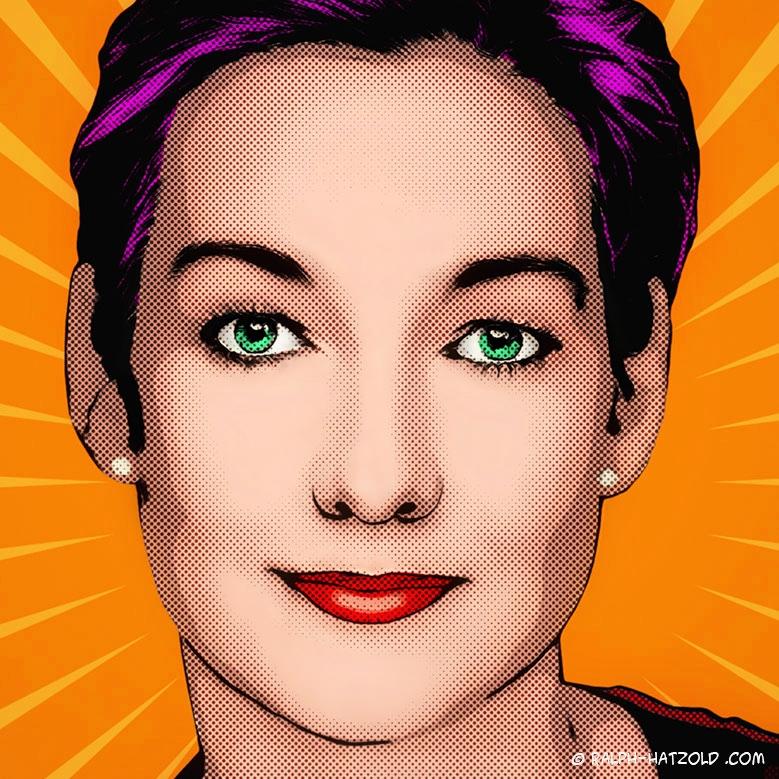 Pop Art Portrait Lichtenstein, Comic Pop Art Tanja, Pop Art Portrait vom eigenen Foto, beauty Pop Art Retro color, Pop Art Roy Lichtensteinauf Leinwand, Comic Raster