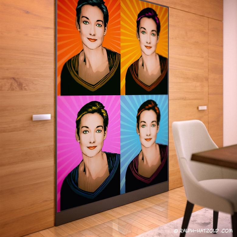 Pop Art Portrait Lichtenstein, Pop Art Portrait vom eigenen Foto, beauty Pop Art Retro color, Pop Art Roy Lichtensteinauf Leinwand, Comic Pop Art, Comic Raster