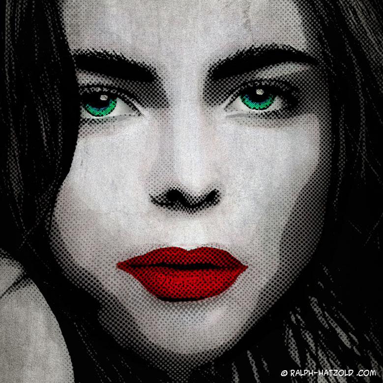 Foto Pop Art Portrait black and white, rote Lippen, beauty Pop Art, schwarz weiss, Pop Art vom eigenen Foto, Pop Art Portrait auf Leinwand