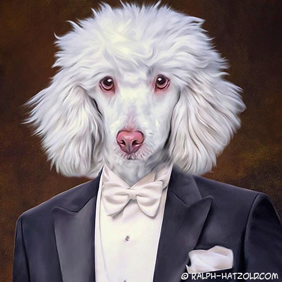Hund in Kleidung Pudel im Anzug Gemälde in Uniform gerahmt in 40x50cm Geschenkidee für Hundebesitzer