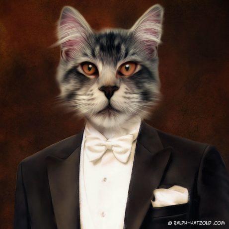 Katze im Anzug, Katzen Portraits vom eigenen Foto, Katzengeschenke