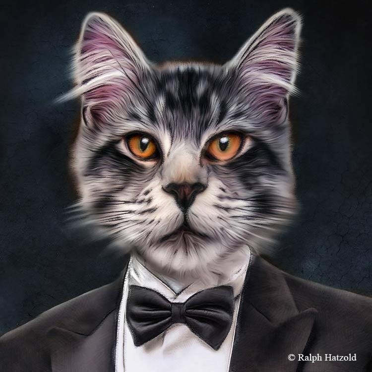 Katzenportrait im Frack, Katze in Kleidung, Gemälde Katzen, Geschenk für Katzen