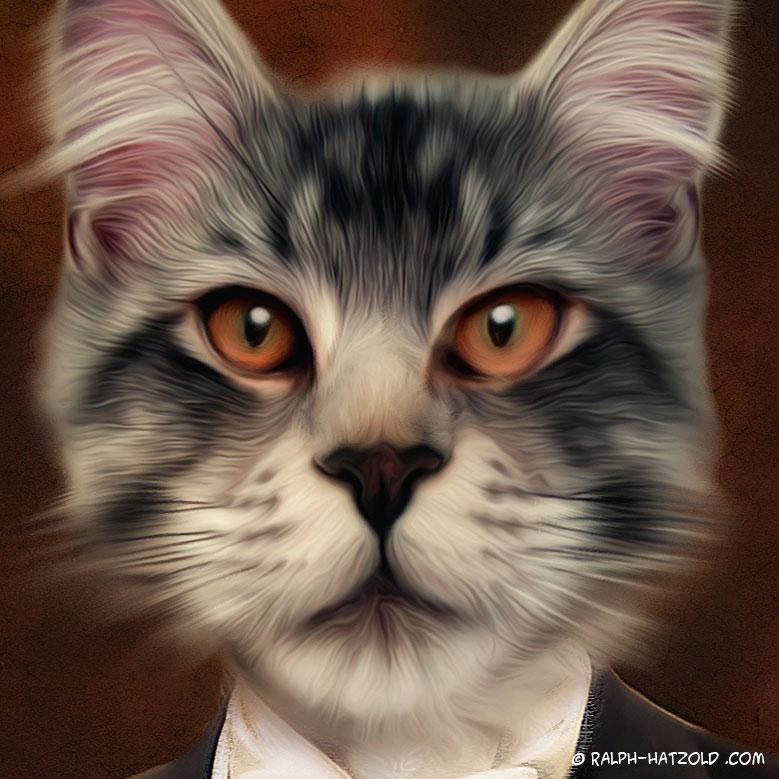 Katzen Portrait im Anzug, Kater Karlo, Katzenportraits von Ihrem Foto