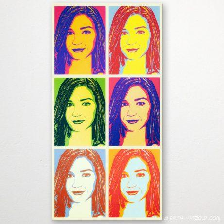 Pop Art Frauenportrait vom eigenen Foto, Marilyn Andy Warhol Stil