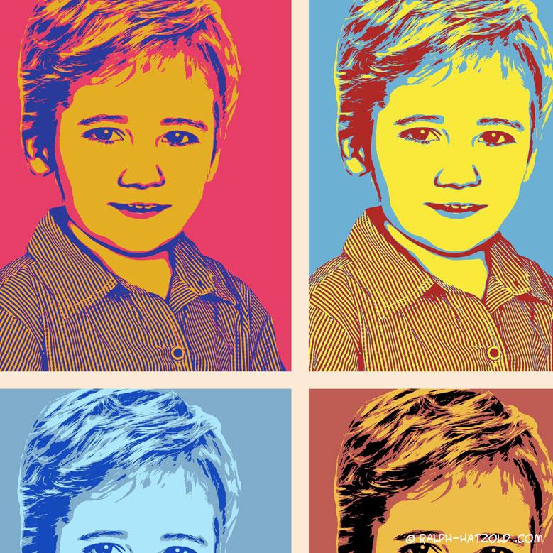 Pop Art Kinderportrait vom eigenen Foto, Marilyn Andy Warhol Stil