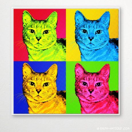 Pop Art Katze, Pop Art Portrait Katze Leo, katzen portraits pop art,Andy Warhol Style, Pop Art Geschenk auf Leinwand