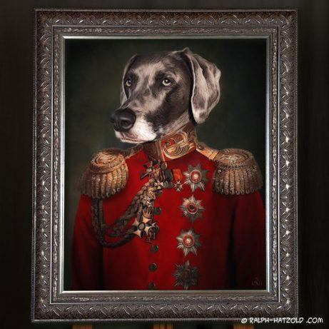 Weimaraner Hund in Uniform, Hund in Kleindung, Gemälde stil, Hundeportrait, Geschenkidee, hundekleidung
