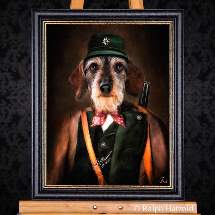 Hundeportrait Dackel in Jagdkleidung, Rauhaardackel Teckel Dachshund in Kleidung Gemälde