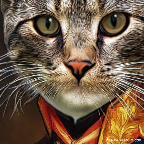 Katzenportraits, Kater Felix in Uniform, Katzen in Kleidung, Barockrahmen, Geschenk für Katzenfreunde, Katze Gemälde Stil, Tiere in Kleidung, Tierkleidung