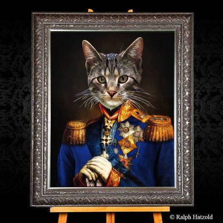 Katzenportraits, Katze in Kleidung in Uniform, katzenportrait, katze in uniform, katze in kleidung, Gemälde katze in Anzug Savannah