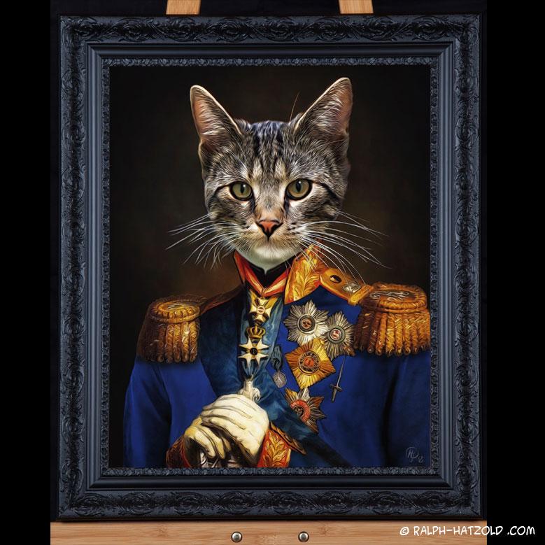 Katze in Uniform, Katzenportraits, Kater Felix in Uniform, Katzen in Kleidung, Barockrahmen, Geschenk für Katzenfreunde, Katze Gemälde Stil, Tiere in Kleidung, Tierkleidung