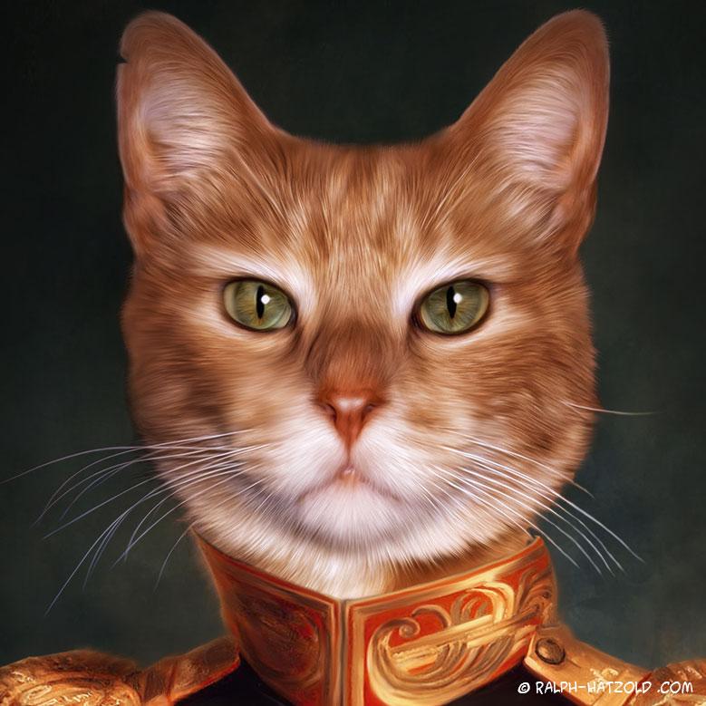 Katzenportrait, Katze in Uniform, Katzen in Kleidung, Barockrahmen, Geschenk Katze Gemälde Stil