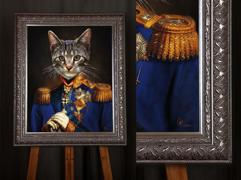 Katzenportraits Gemälde Stil in Uniform, Geschenk, Katze in Uniform, Katze im Anzug, Katzenkleidung
