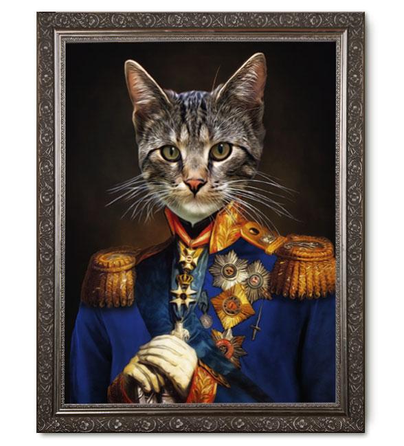 Katzenportrait Gemälde, Geschenk, Katze in Uniform, Katze im Anzug, Katze in Kleidung,