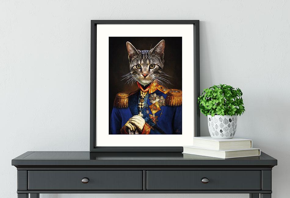 Katzenportrait in Uniform, Katzenportrait Gemälde, Geschenk, Katze in Uniform, Katze im Anzug, Katze in Kleidung,