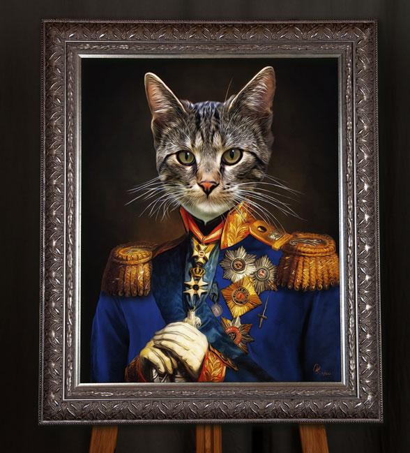 Katzenportraits, Katze in Kleidung in Uniform, katzenportrait, katze in uniform, katze in kleidung, Gemälde katze in Anzug