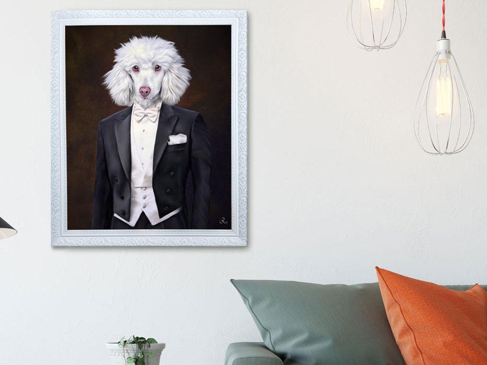 Königspudel im anzug, gemaelde hundeportrait in Kleidung, Bild kaufen barockrahmen portrait in uniform Pudelkleidung geschenk anzug