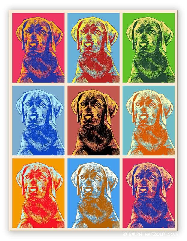 Hundeportrait Pop Art, Andy Warhol Stil, Bild Labrador welpe Bilder für die Wand