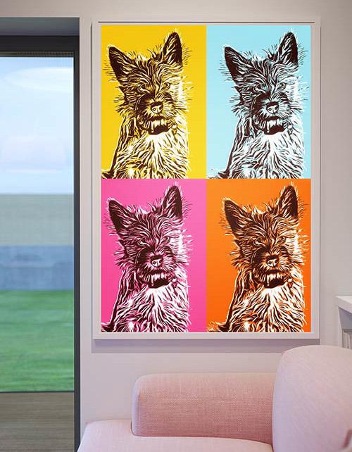 Pop Art Hundeportrait, Andy Warhol Stil, Bilder für die Wand, Leinwand Bilder Pop Art