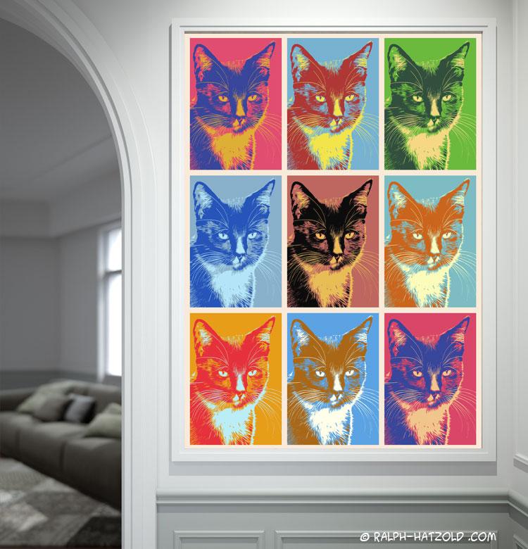 Katze Andy Warhol Stil Bild für die Wand Pop Art auf Leinwand