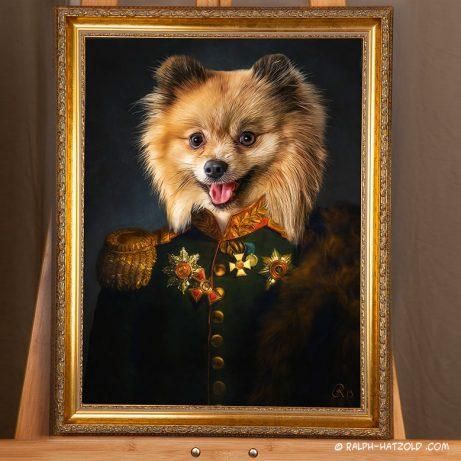 Spitz in Uniform, Hundeportrait in Kleidung, Gemälde Stil, Barockrahmen
