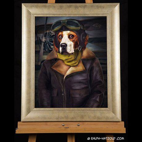 Beagle Hundeportrait in kleidung, Pilotenkleidung, Hund als Pilot
