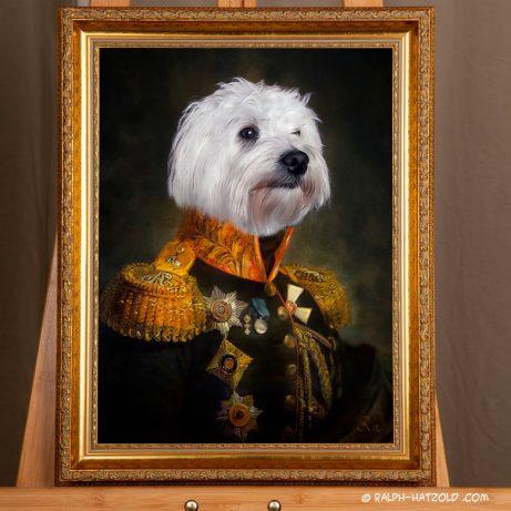 Hundeportait in kleidung vom eigenen Foto, Hund in Uniform Gemälde Stil