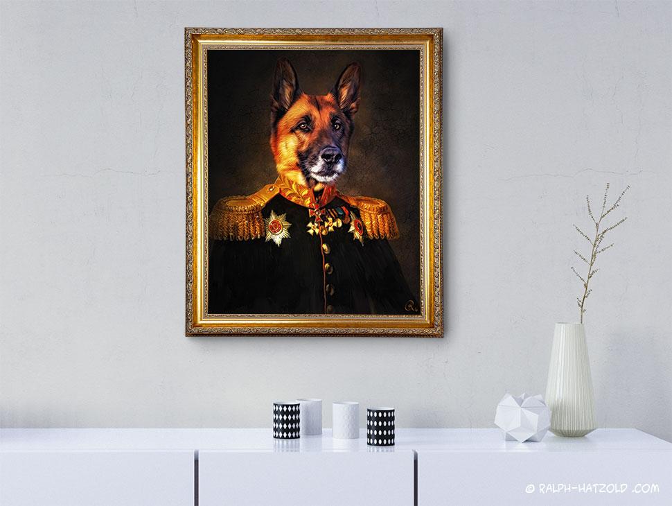 Schäferhund Gemälde in Uniform Edition gerahmt kaufen Hunde in Kleidung