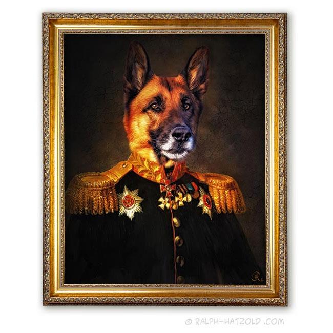 Gemälde Schäferhund in Uniform Hunde in Kleidung Bild kaufen Edition auf Leinwand gerahmt