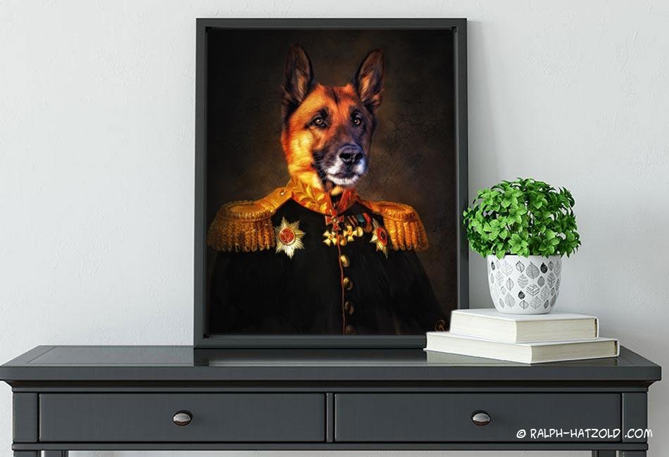 Gemälde Schäferhund in Uniform Geschenk Hundebesitzer