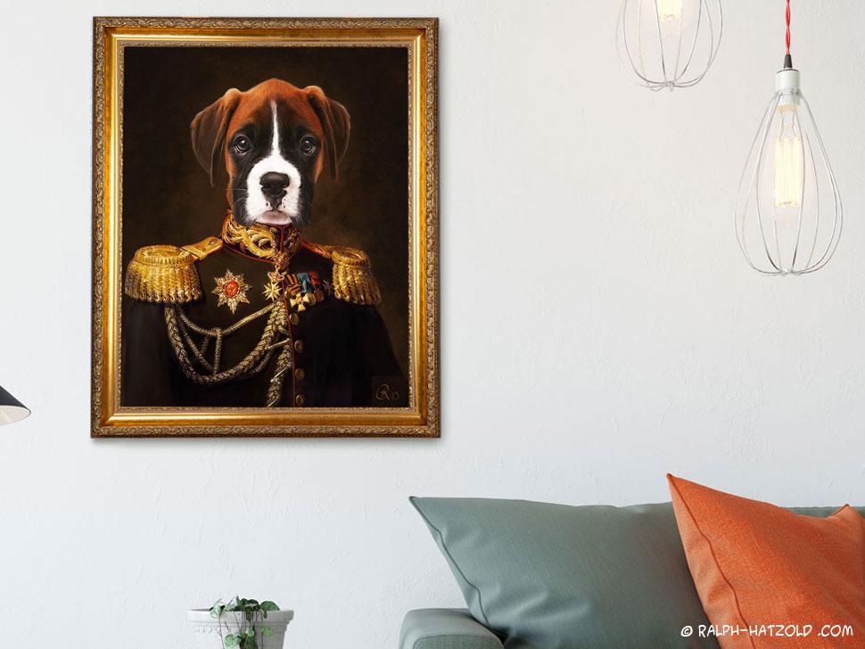 Hundeportrait Boxer kaufen Gemälde Stil Bild Hund in Uniform Geschenk für Hundebesitzer deutscher Boxer